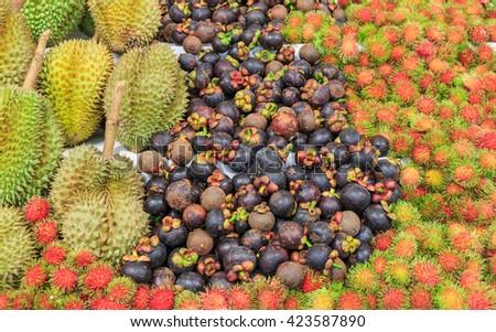 many kind of Thai fruit durian,mangosteen and rambutan - stock photo