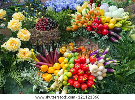 Many kinds of artificial fruit. - stock photo