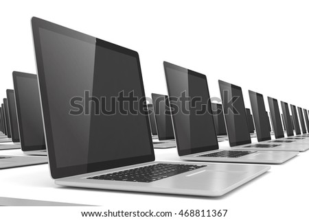many  laptop on white background. 3d rendering.