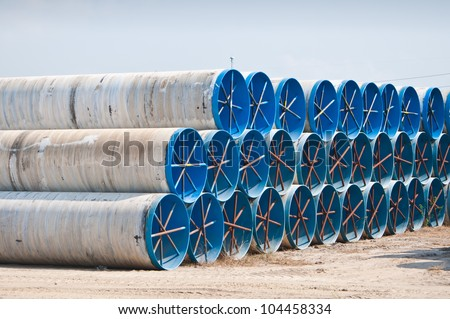 Many large water pipes - stock photo