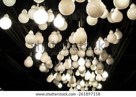 many light bulb in dark. light bulb art abstract - stock photo