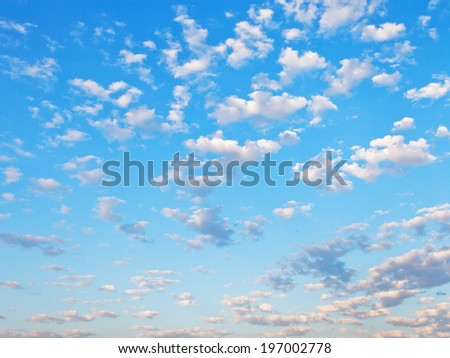 many little white clouds in summer blue sky - stock photo