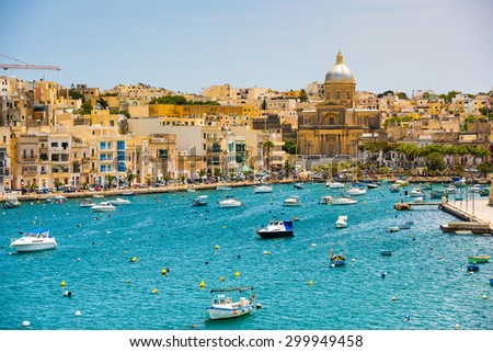 many little yachts and boats from plan wiev to the bay near Valletta in Malta - stock photo