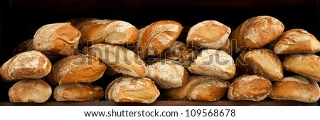 Many loaves of bread  waiting for selling. - stock photo