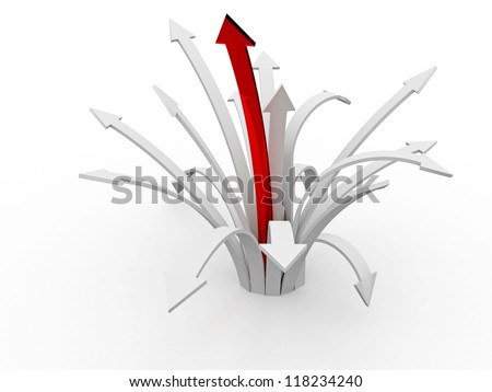 Many long arrows on a white background - stock photo