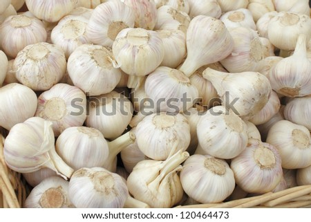 Many loose heads of white purple garlic for sale in a basket display at an outdoor market.