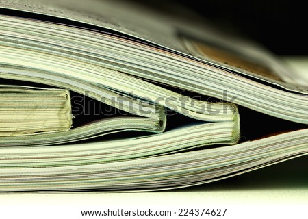 many magazines stack, close up shooting