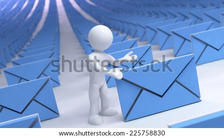 many mails with 3d man - stock photo