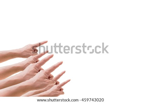 Many male hands pointing something from left to the top right on white background