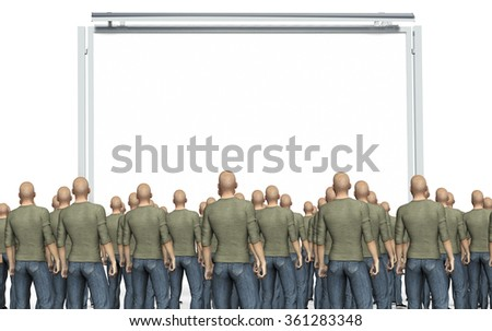 many man looking at an empty billboard isolated on white.
