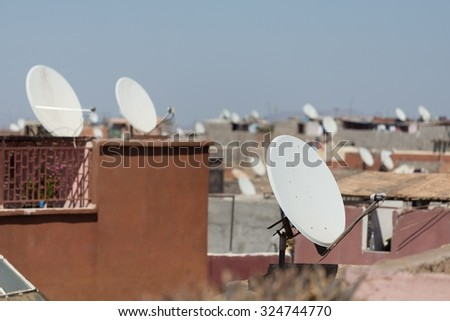 many many tv connections in marrakesh - stock photo