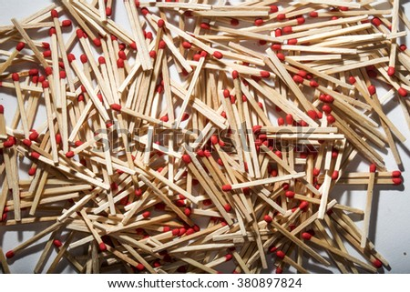 many matches interspersed occupying the whole picture - stock photo