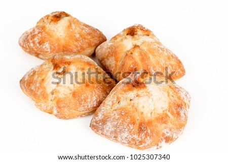 Many Milanese roll with white background