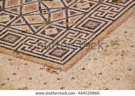 Many mosaic floors were excavated in the ruins of the Roman/Byzantine city in Caesarea.Israel. Today, its ruins lie on the Mediterranean coast of Israel