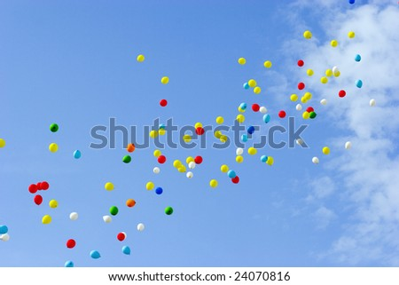 many multicolored balloons flying in blue sky