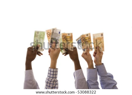 Many multiracial hands holding euro banknotes isolated on white - stock photo