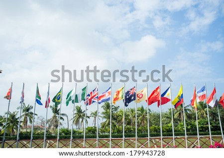 Many national flags are arranged in a straight line - stock photo
