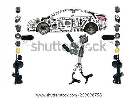 Many new spare parts in the form of - Auto mechanic working under lightened car - stock photo