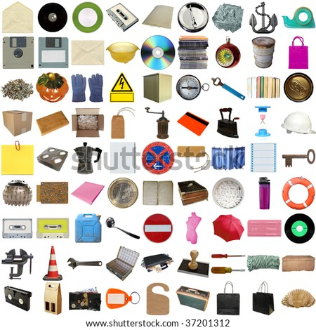 Many object isolated over a white background (all pictures in the collage are mine) - stock photo