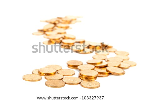 Many of gold coin making curved path