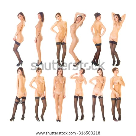 Many of the same Nude Isolated Female  - stock photo