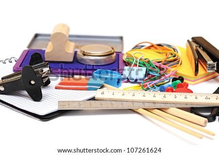 many office tools on white background - stock photo