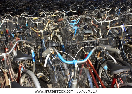 Many old bicycles