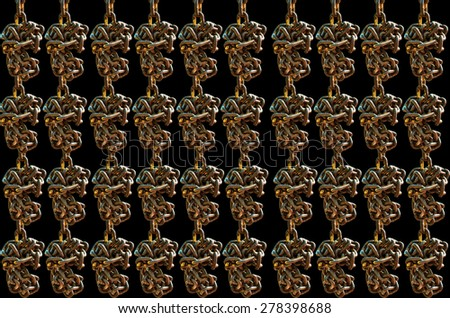 Many Old chain on  black background - stock photo