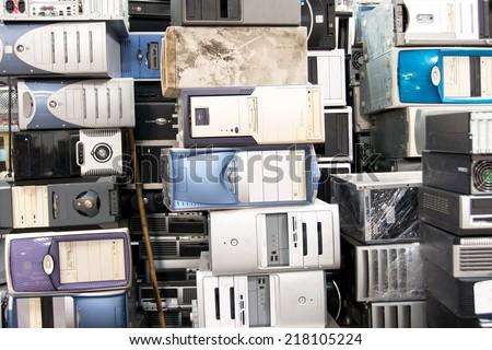 Many Old Computer - stock photo