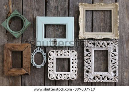 Many Old Frames Rectangular Square Oval Stock Photo (Royalty Free ...