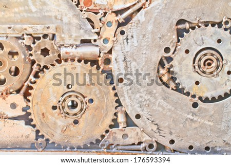 many old rusty metal gears or machine parts , Can use background