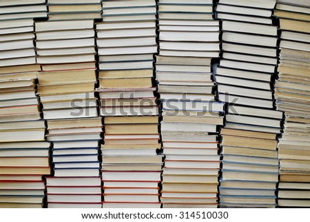 many old shabby different books - stock photo