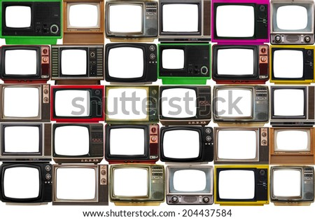 Many old televisions in orderly fashion with empty absolute white screen - stock photo