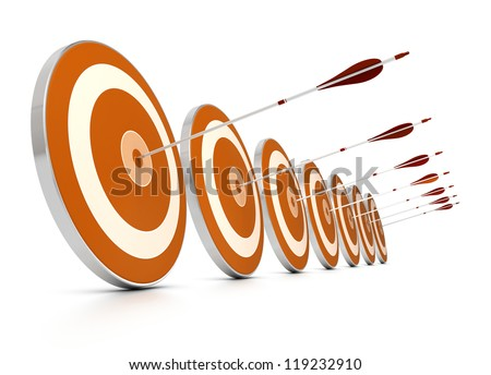 many orange targets in a row plus seven arrows, each arrows hit the center of one target, image over white background, - stock photo