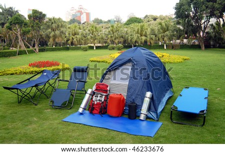 many outdoor products are putted on the floor - stock photo