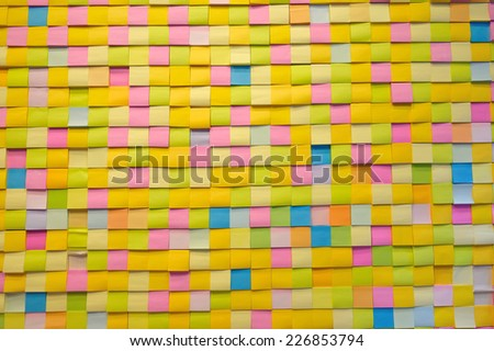 many paper note full color on board - stock photo