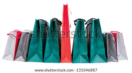 many paper shopping bags isolated on white backgrounds