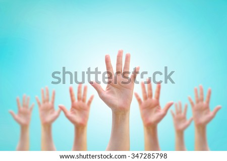 Many people blur women human hands raising upward, vintage sky background showing vote GYSD volunteering Participation rights equality synergy concept campaign: Zero discrimination conceptual idea   - stock photo