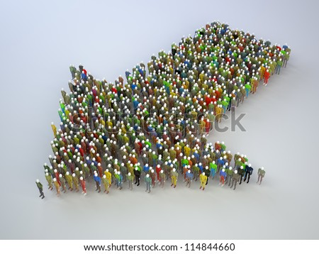 many people build in the form of an arrow - stock photo