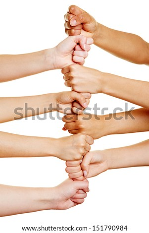many people building a tower with their hands as teamwork concept - stock photo