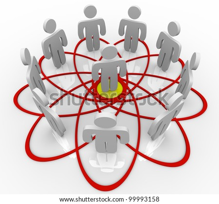 Many people connected in a venn diagram or social network with one common person in the hub or center as the core contact or friend connecting everyone - stock photo