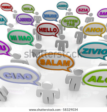 Many people from different cultures say the word hello in their native languages - stock photo