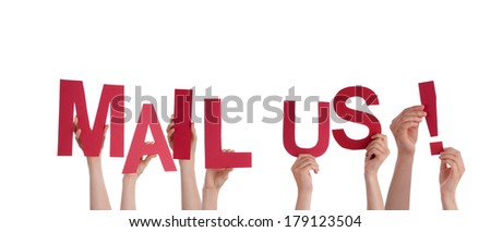 Many People Holding the Red Words Mail Us, Isolated - stock photo