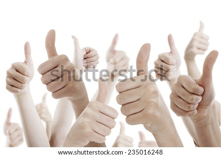Many people holding their thumbs up on white background - stock photo