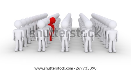 Many people in rows but one is acting differently - stock photo