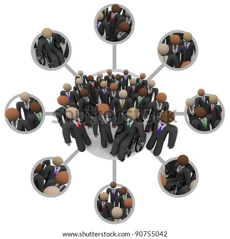 Many people of different races in business suits connected by links in a communication networking grid representing professional networking - stock photo