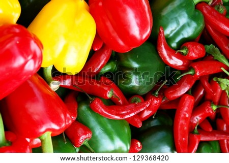 many peppers............ - stock photo