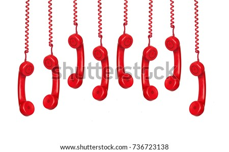 Many phones hanging isolated on a white background with a reflection