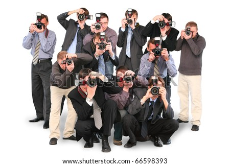 many photographers paparazzi double twelve group with cameras isolated on white collage - stock photo