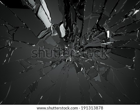 Many pieces of shattered glass on black background - stock photo